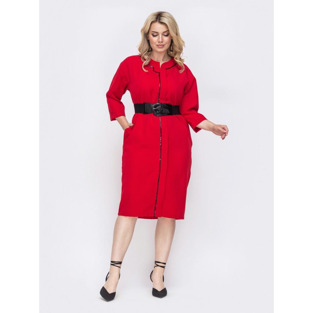 Красное платье с контрастной строчкой фото 1
