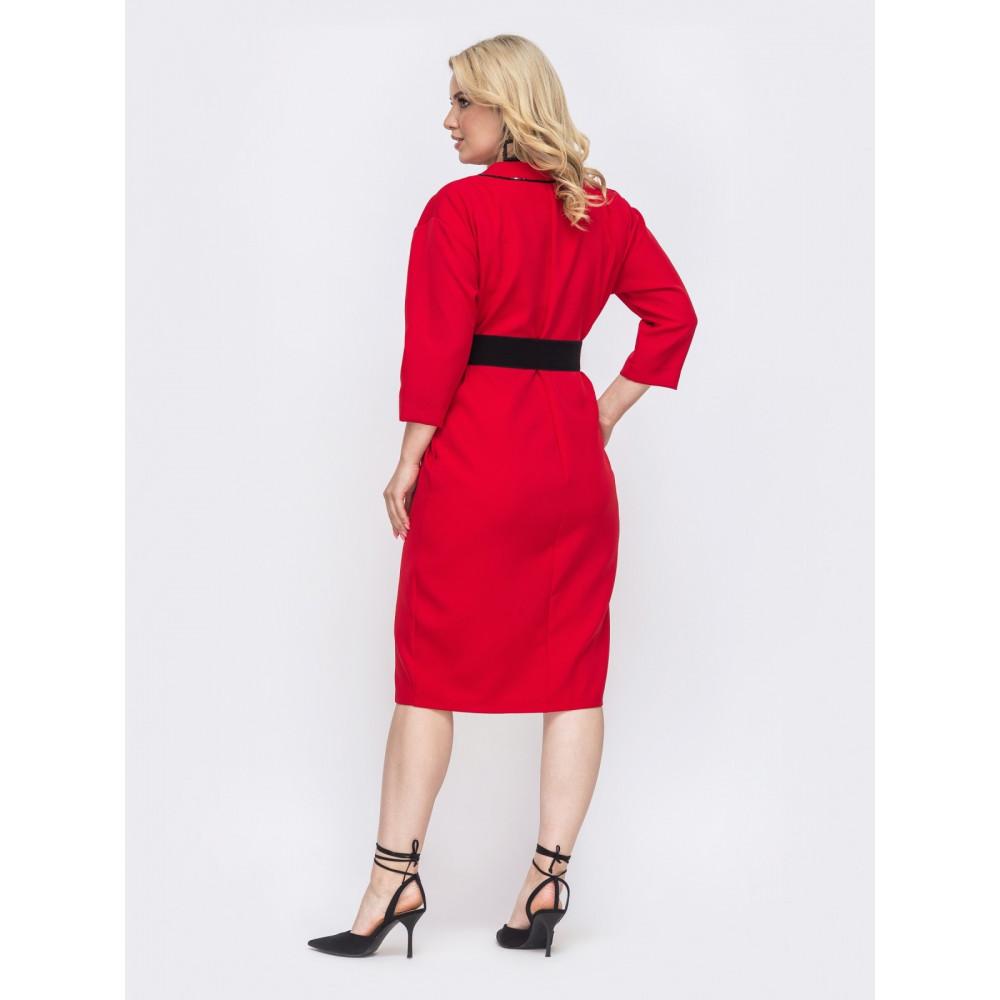 Красное платье с контрастной строчкой фото 2