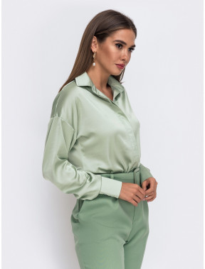 М'ятна шовкова блуза Алана
