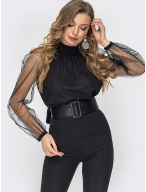 Нарядна чорна блузка з бантом