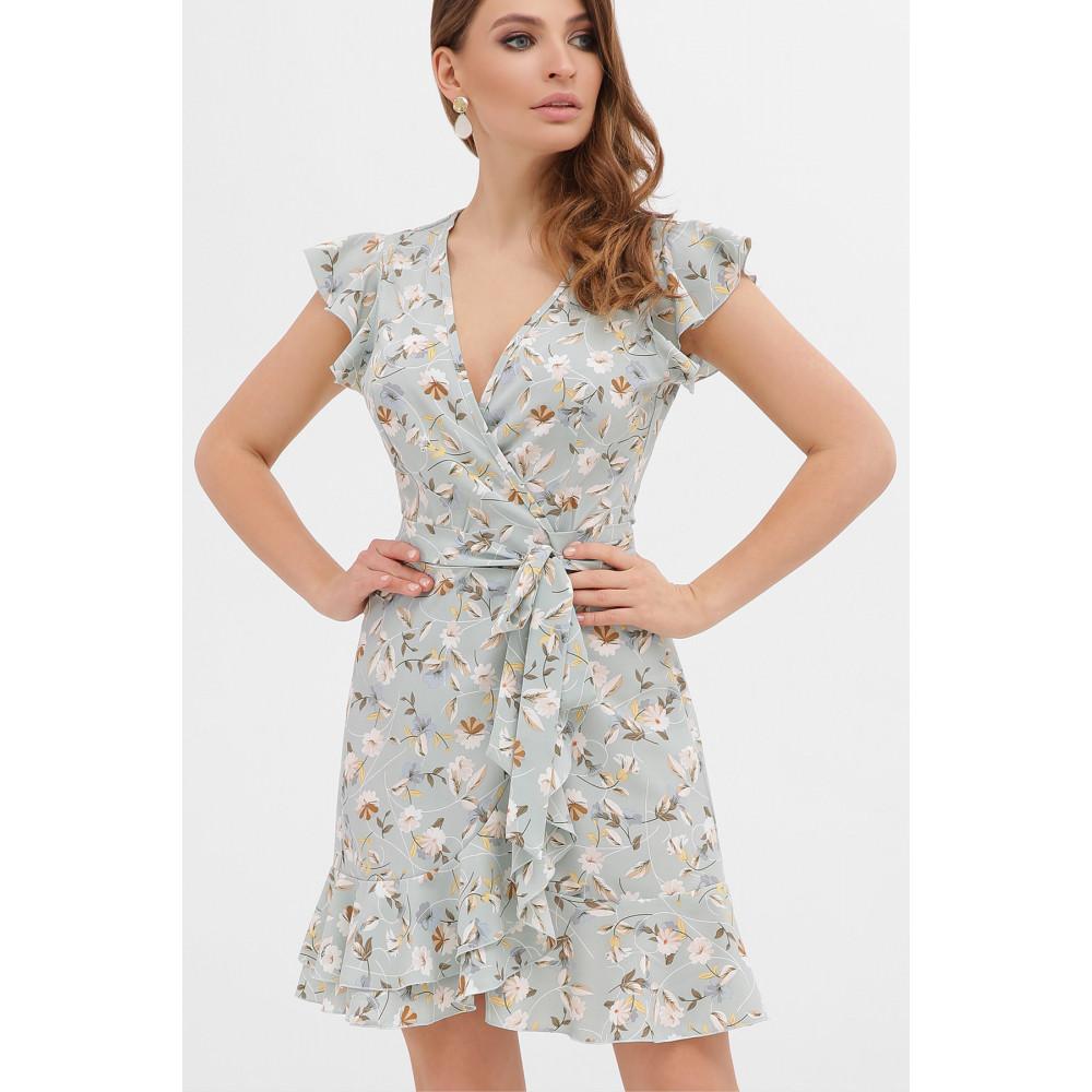 Голубое платье с цветами София фото 2
