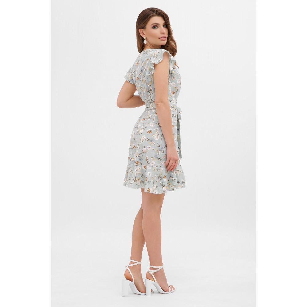 Голубое платье с цветами София фото 3