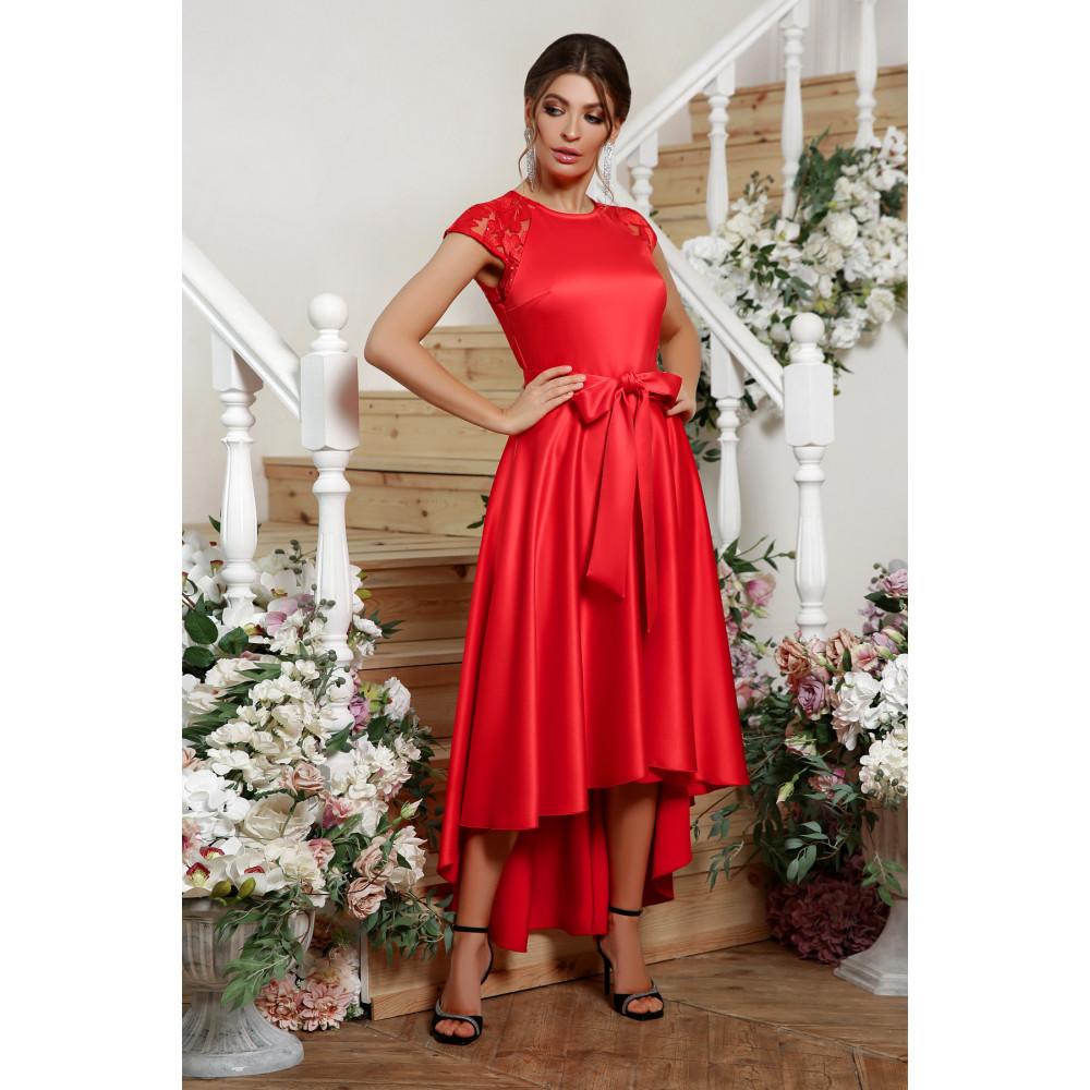 Красное атласное платье Нинель фото 1