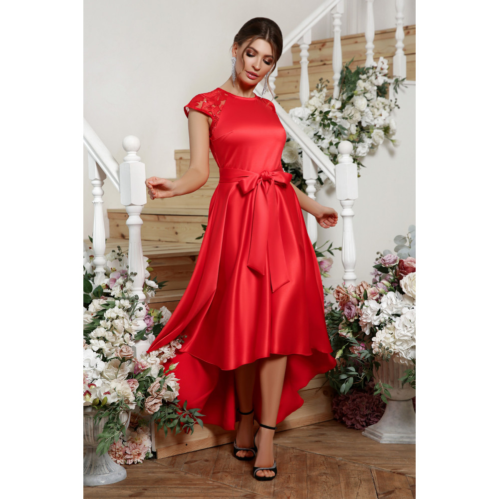 Красное атласное платье Нинель фото 2