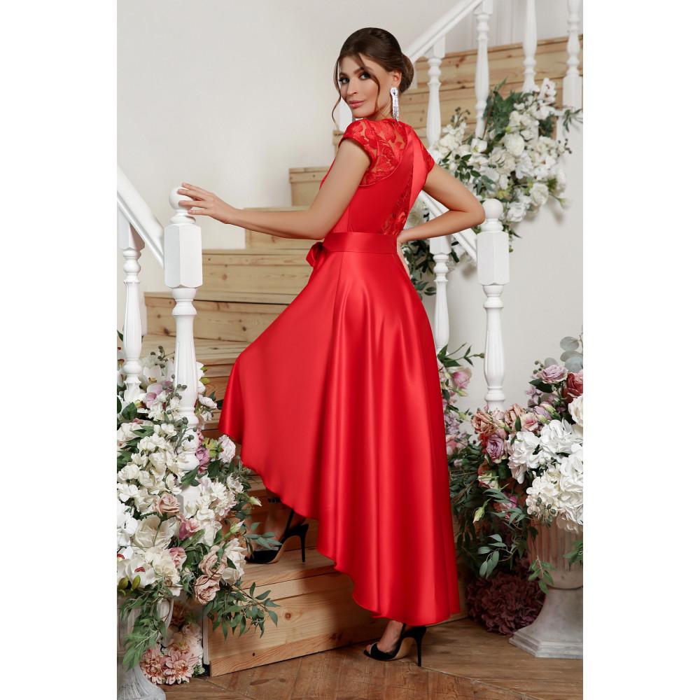 Красное атласное платье Нинель фото 3
