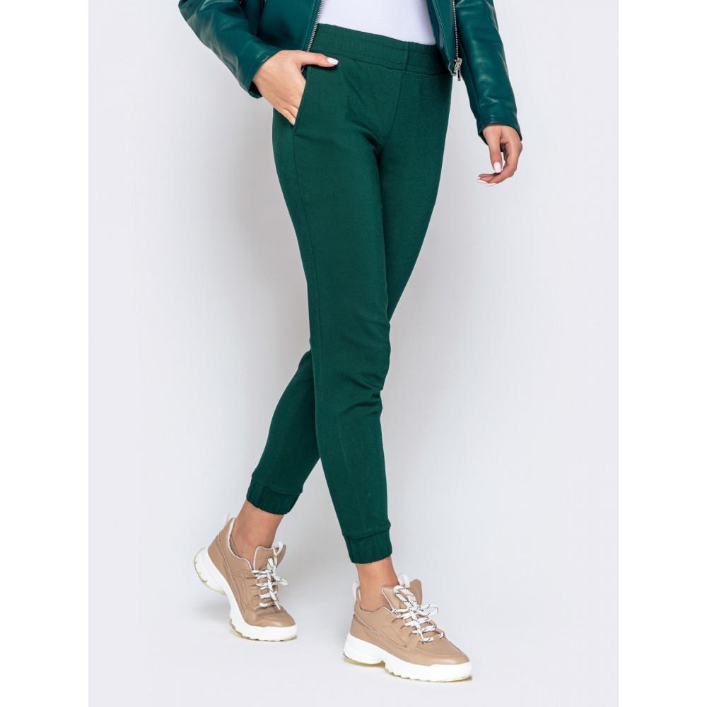 Базовые зеленые брюки средней посадки фото 2