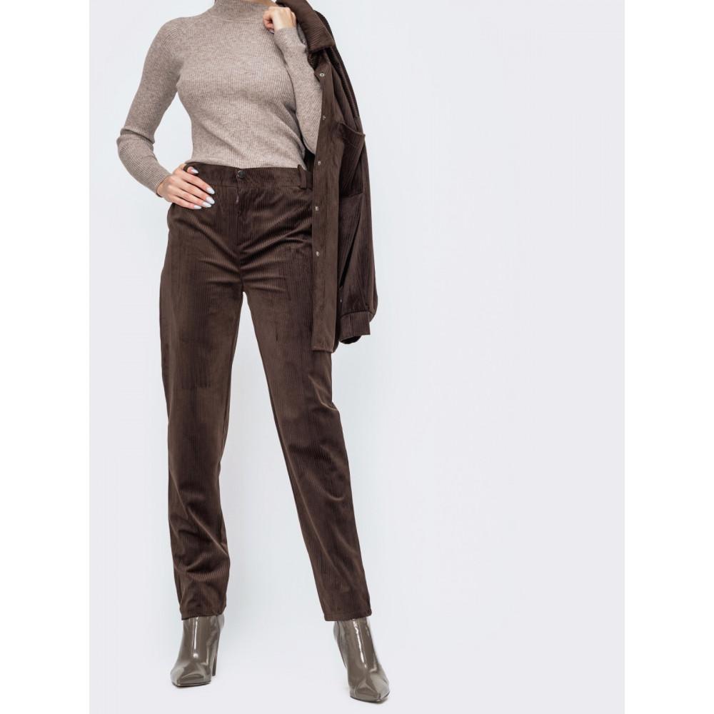 Коричневые удобные вельветовые брюки фото 1