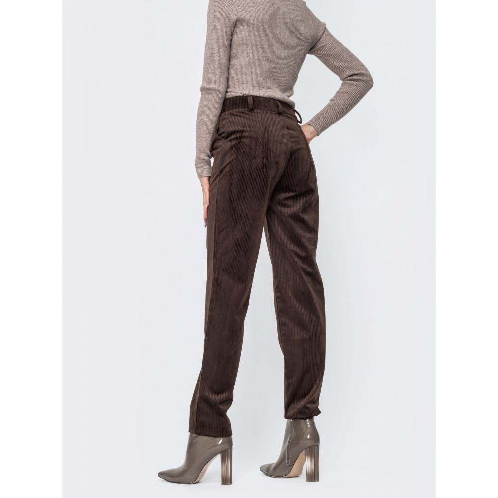 Коричневые удобные вельветовые брюки фото 2