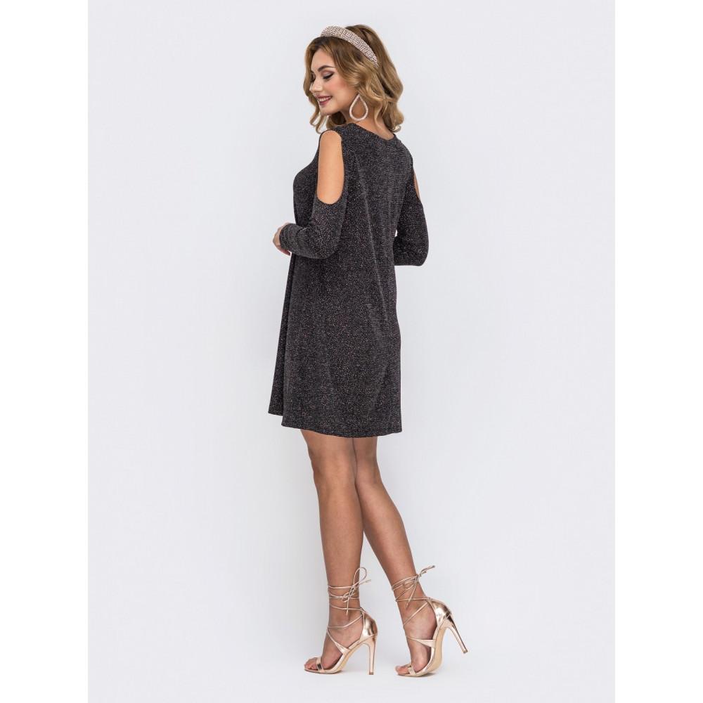Коктейльное платье-трапеция из блестящего люрекса фото 2