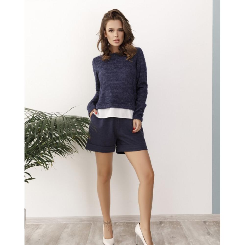 Комбинированный синий свитер из пряжи-травки Тая фото 1