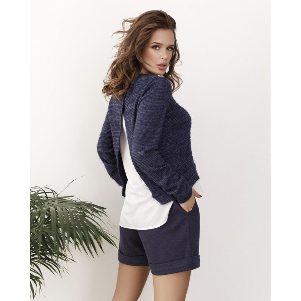Комбинированный синий свитер из пряжи-травки Тая фото 2