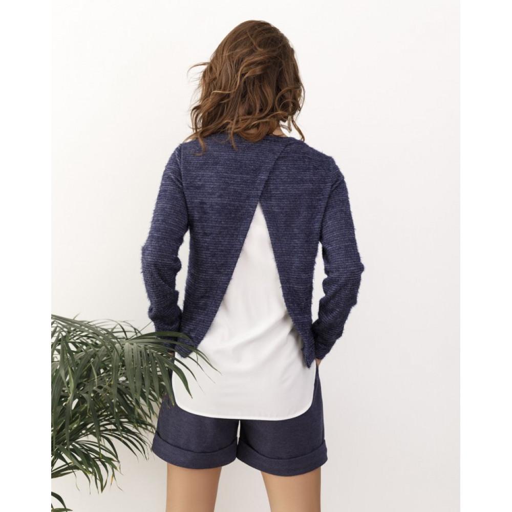 Комбинированный синий свитер из пряжи-травки Тая фото 3