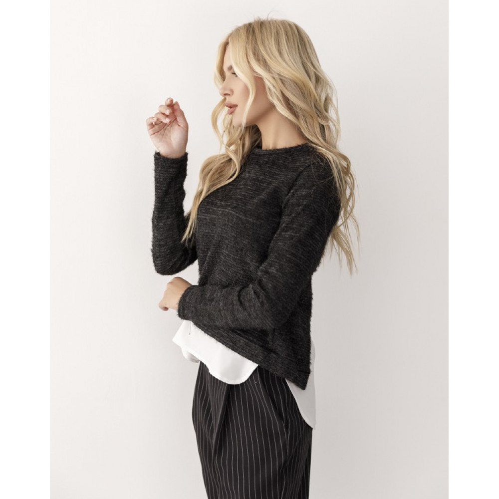 Комбинированый черный свитер из пряжи-травки Тая фото 2