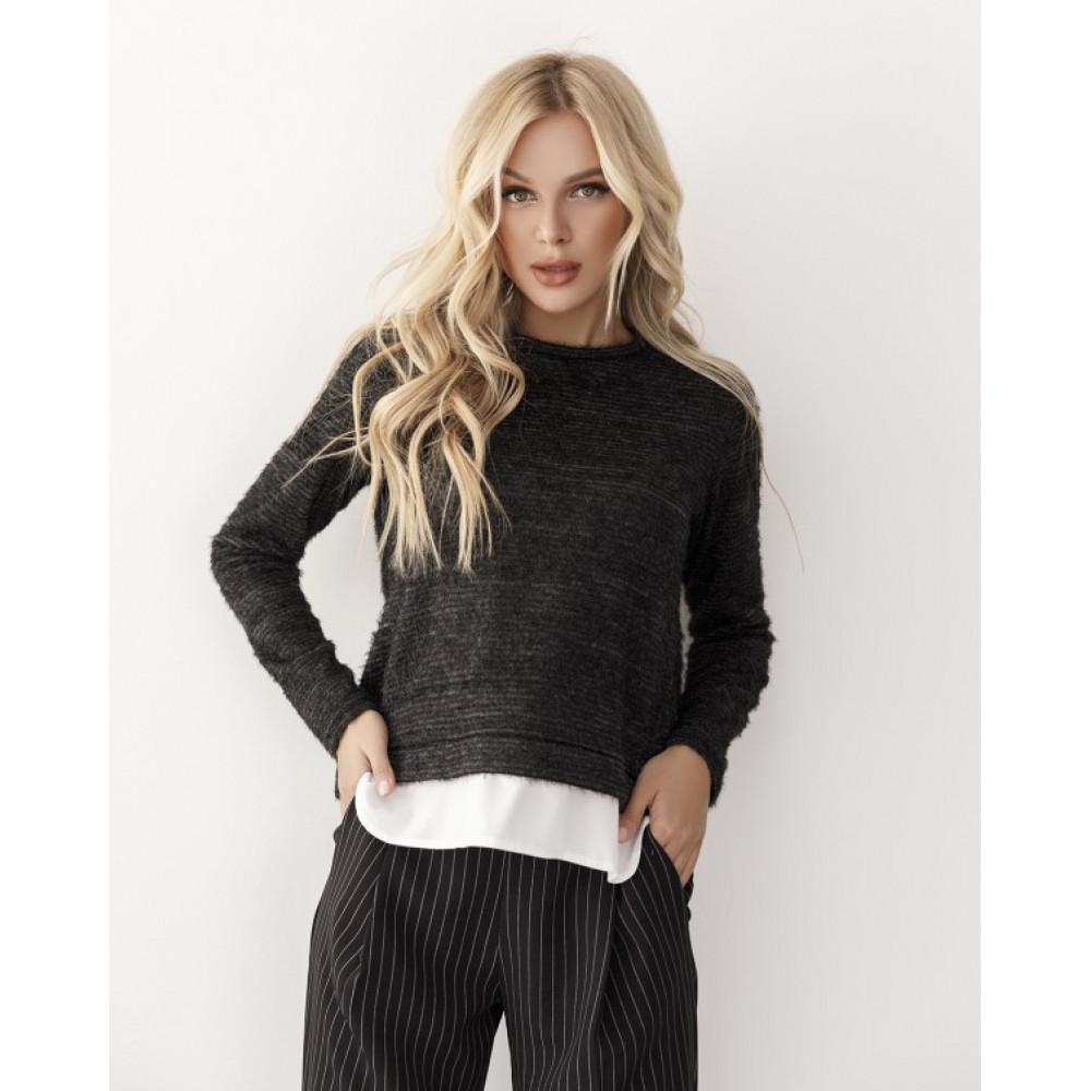 Комбинированый черный свитер из пряжи-травки Тая фото 1