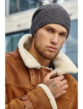 Серая меланжевая мужская шапка Джек