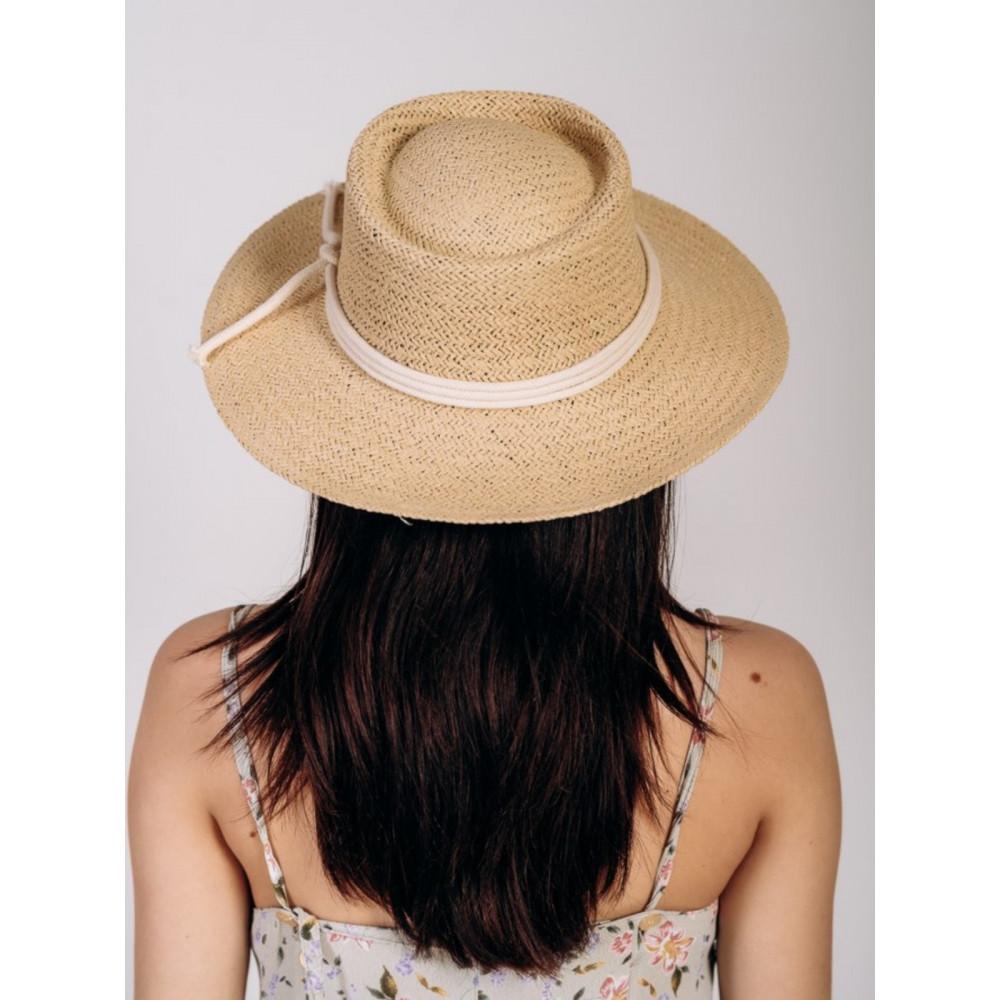 Бежевая шляпа канотье Эрика  фото 2