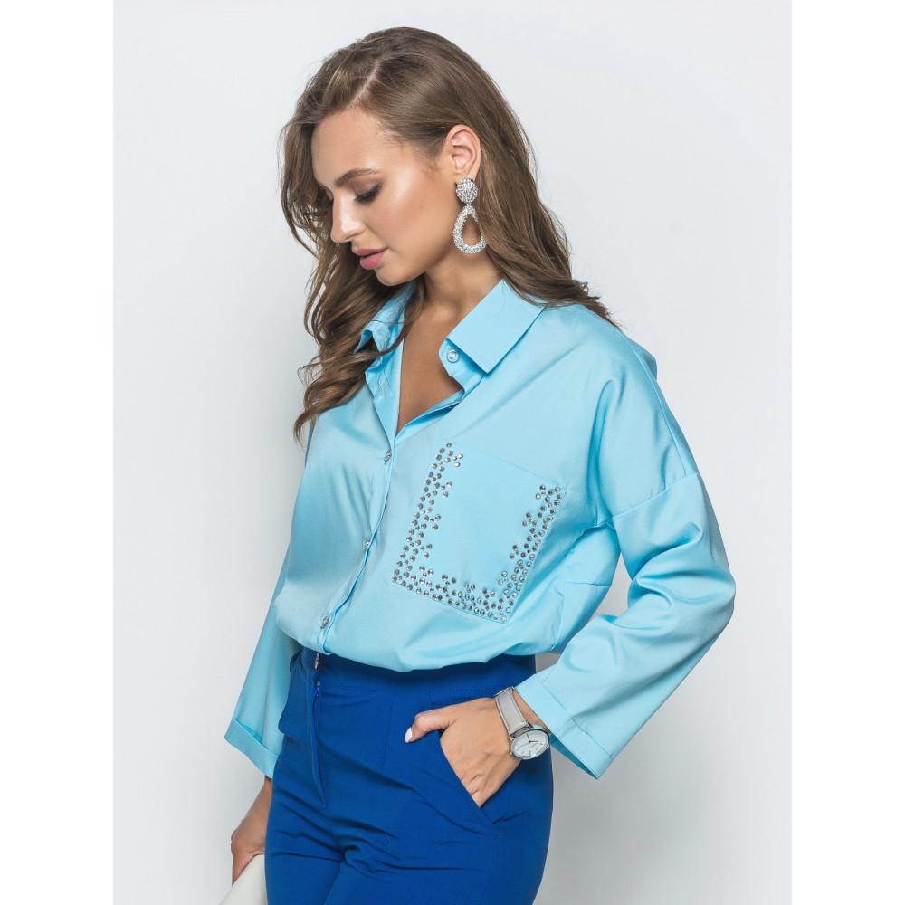 Голубая блуза со стразами Триша фото 2