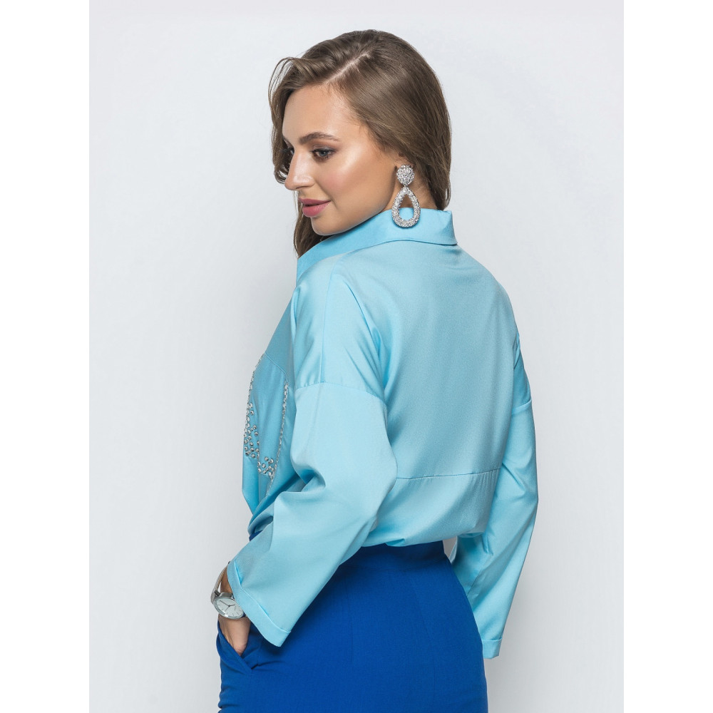 Голубая блуза со стразами Триша фото 3