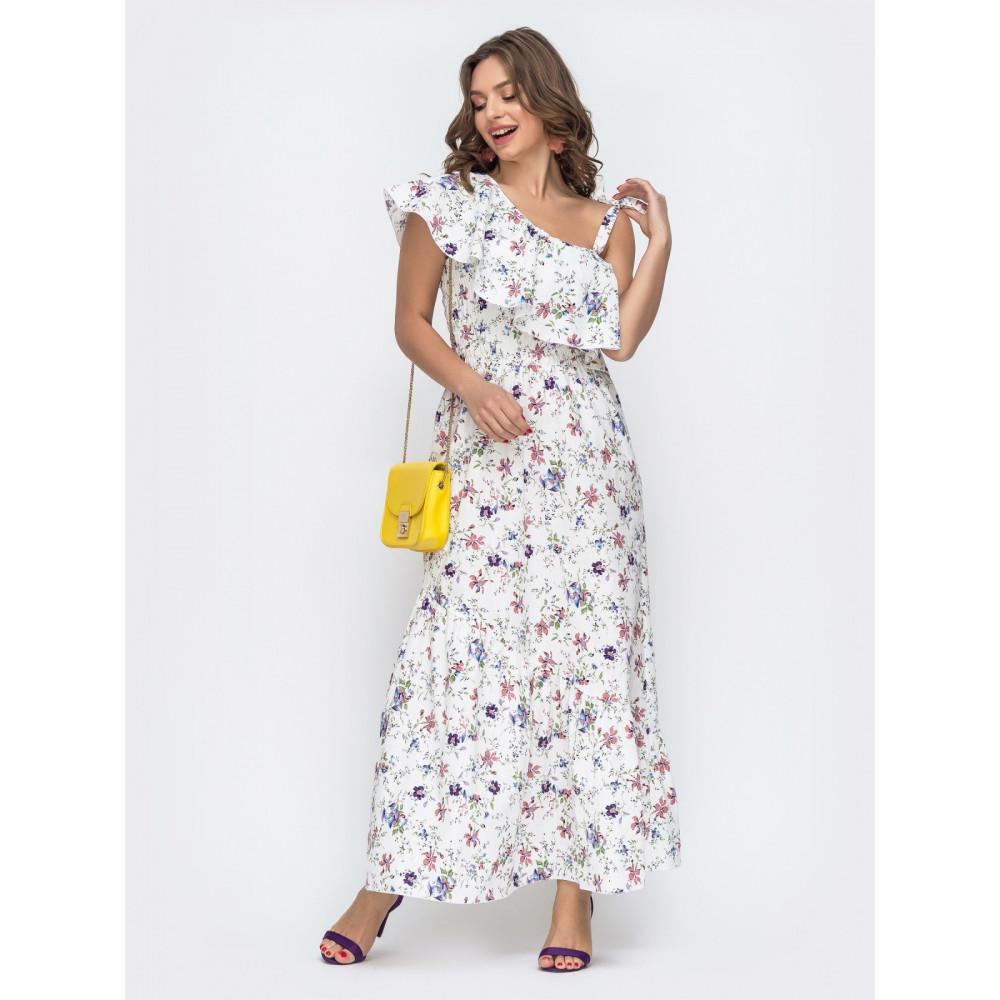 Длинное платье с открытым плечом на завязках фото 1