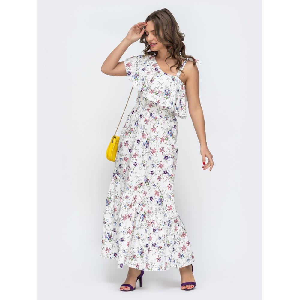 Длинное платье с открытым плечом на завязках фото 2