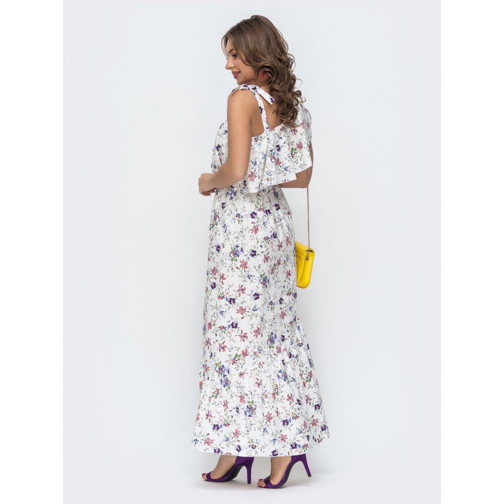 Длинное платье с открытым плечом на завязках фото 3