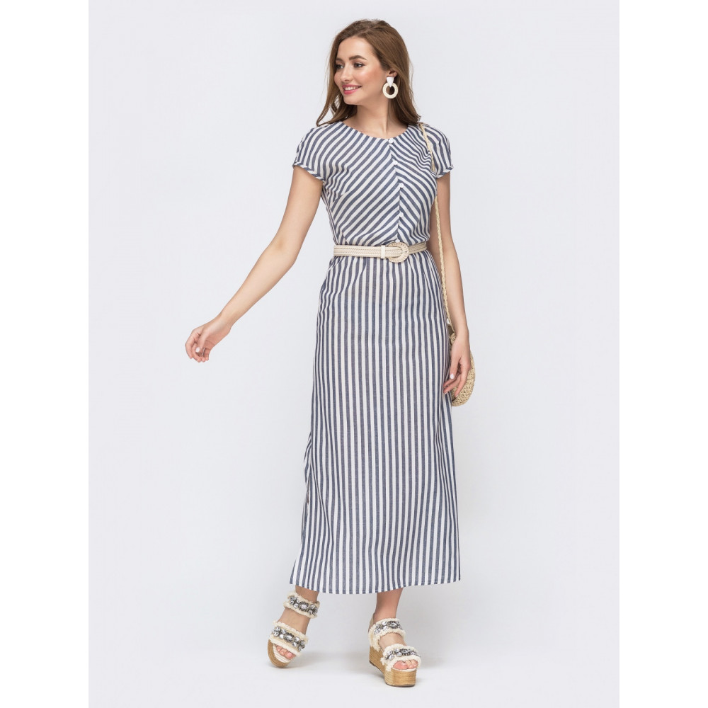 Льняное платье макси в полоску фото 1