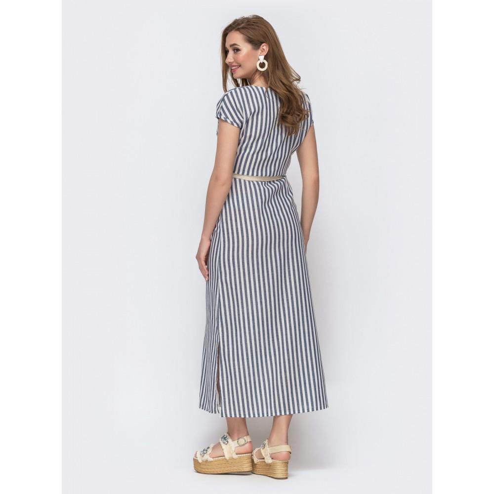 Льняное платье макси в полоску фото 2