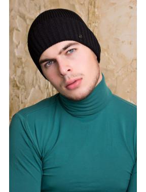 Черная шапка Макс с флисом