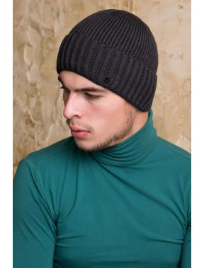 Темно-серая шапка Макс с флисом