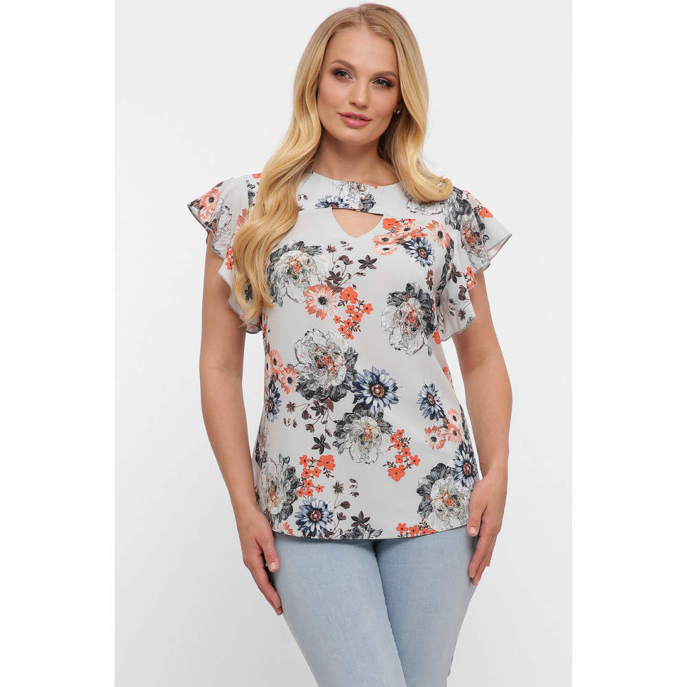 Блузка с женственным принтом Алина фото 1