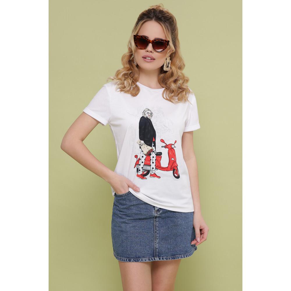 Белая футболка с ярким рисунком фото 1