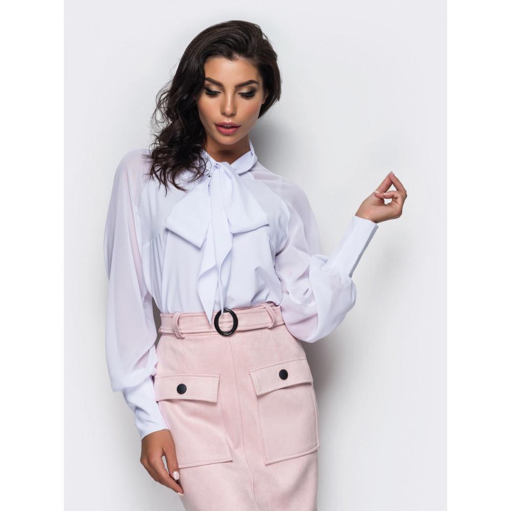Белоснежная блуза с бантом фото 1