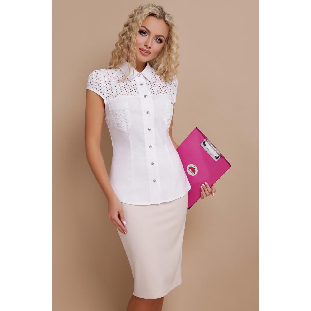 Белая блузка из натуральной ткани Фауста фото 1