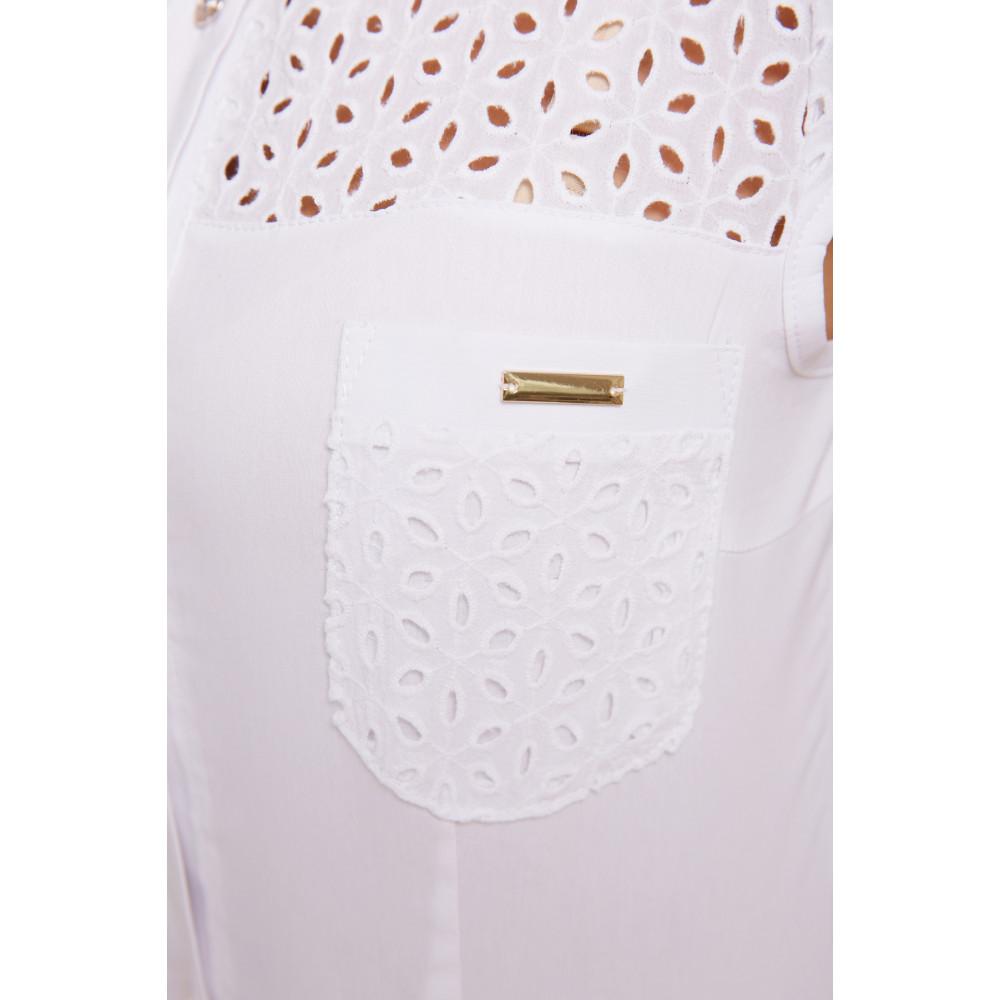 Белая блузка из натуральной ткани Фауста фото 4