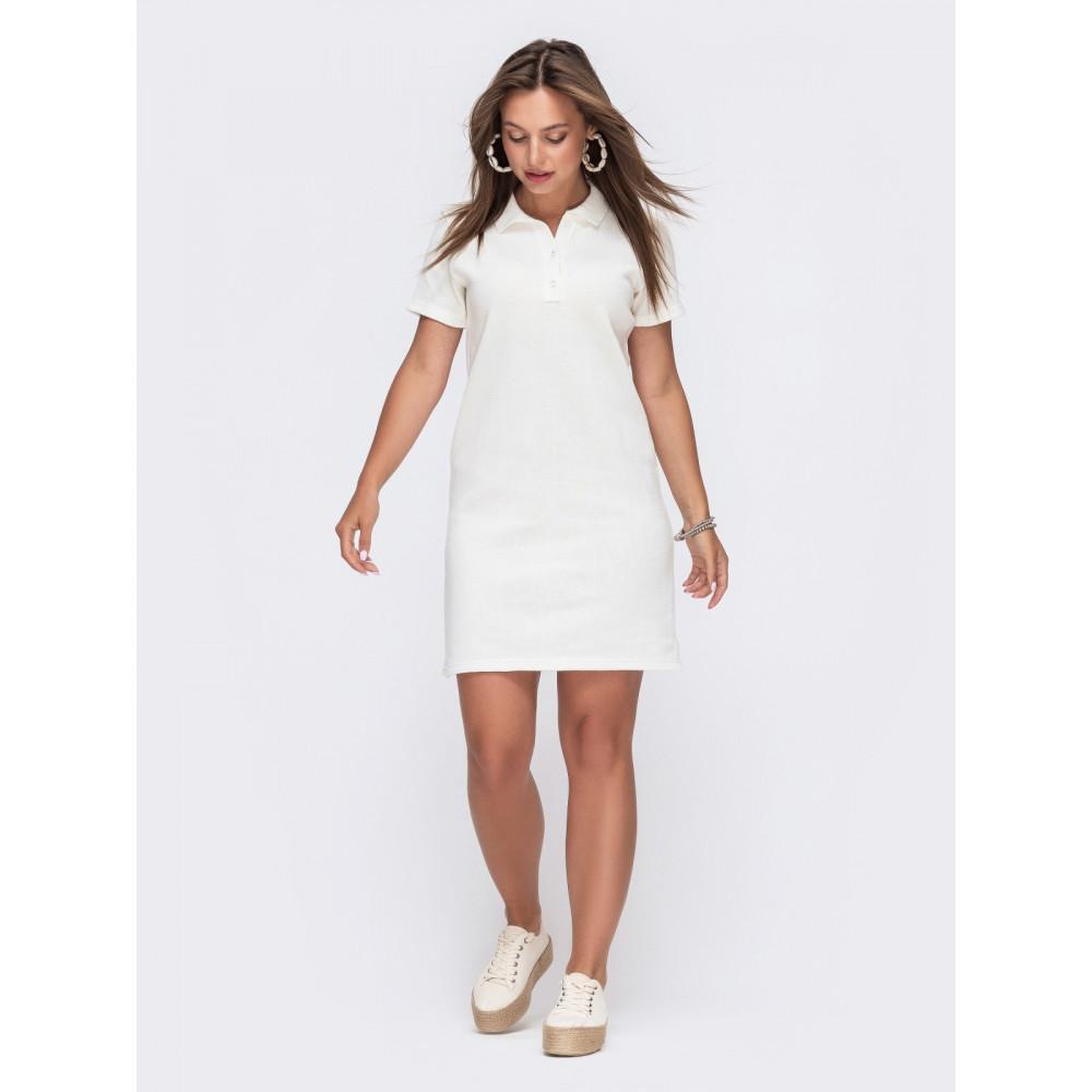 Белое платье-футболка с воротничком фото 1