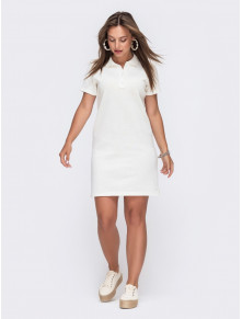 Белое платье-футболка с воротничком