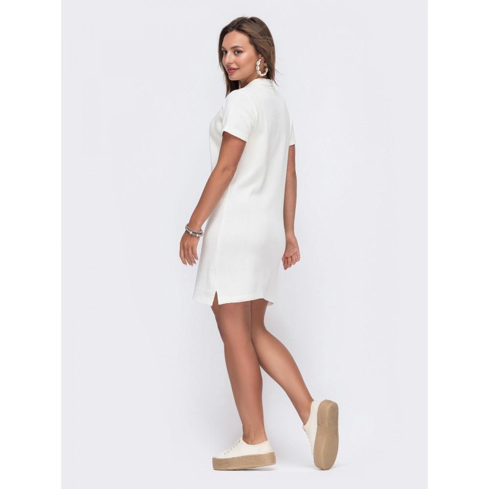 Белое платье-футболка с воротничком фото 2