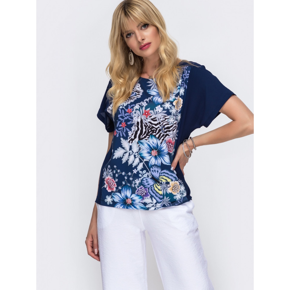 Интересная комбинированная блузка свободного кроя фото 1