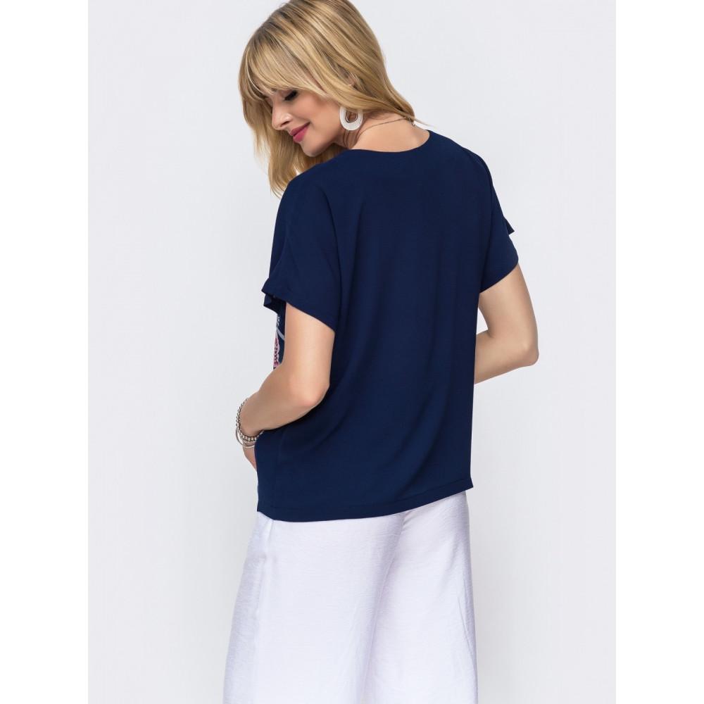 Интересная комбинированная блузка свободного кроя фото 2