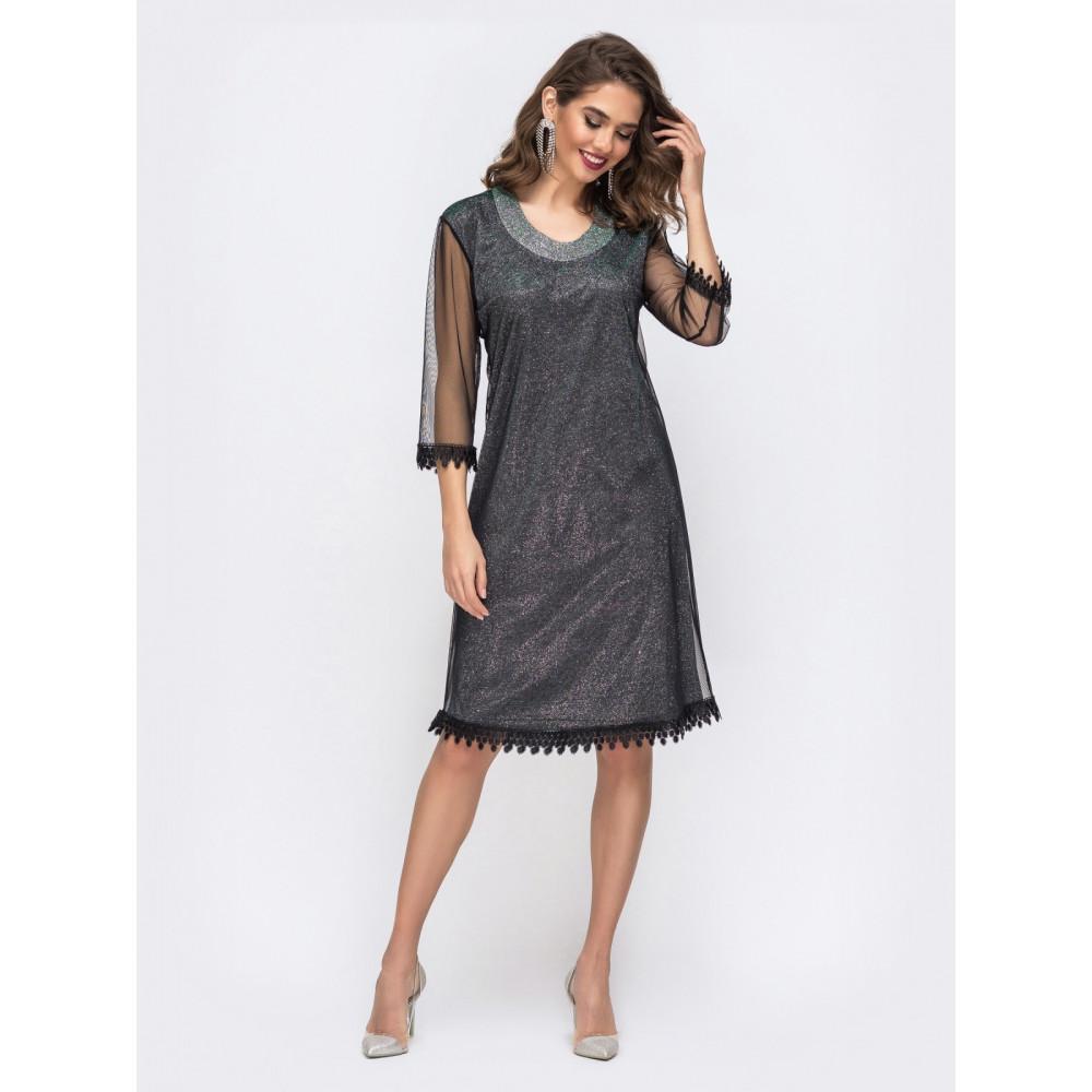 Вечернее приталенное платье с фатиновой сеткой фото 1