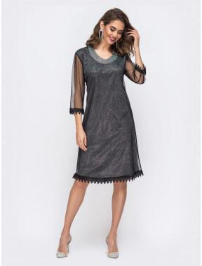 Вечернее приталенное платье с фатиновой сеткой