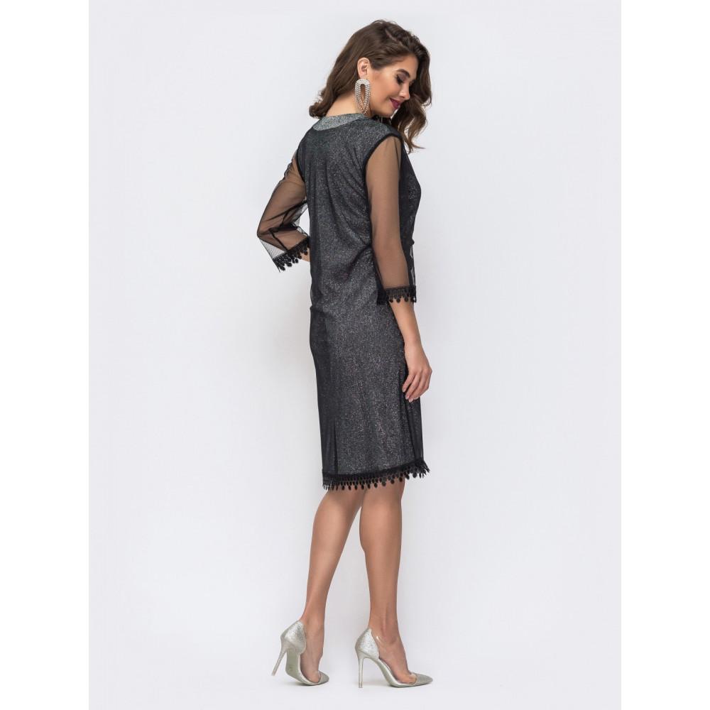 Вечернее приталенное платье с фатиновой сеткой фото 2