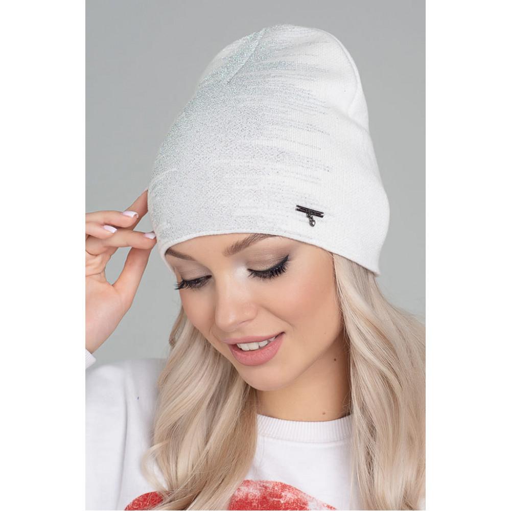 Белоснежная шапка с люрексом Диско фото 1