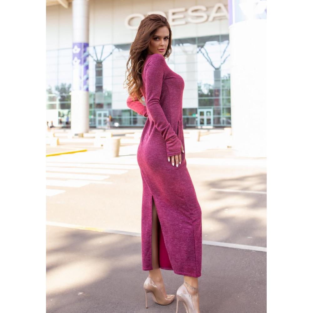 Бордовое платье макси с разрезом фото 2