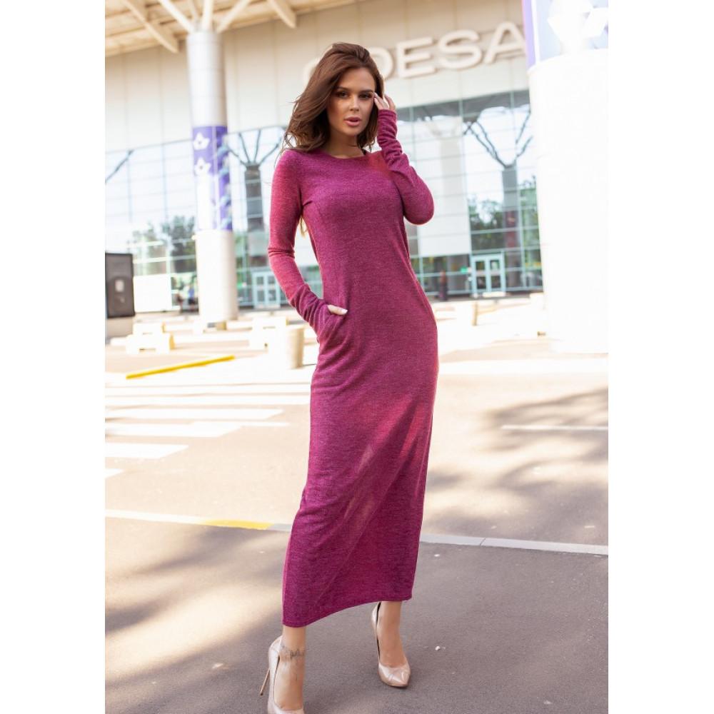 Бордовое платье макси с разрезом фото 3