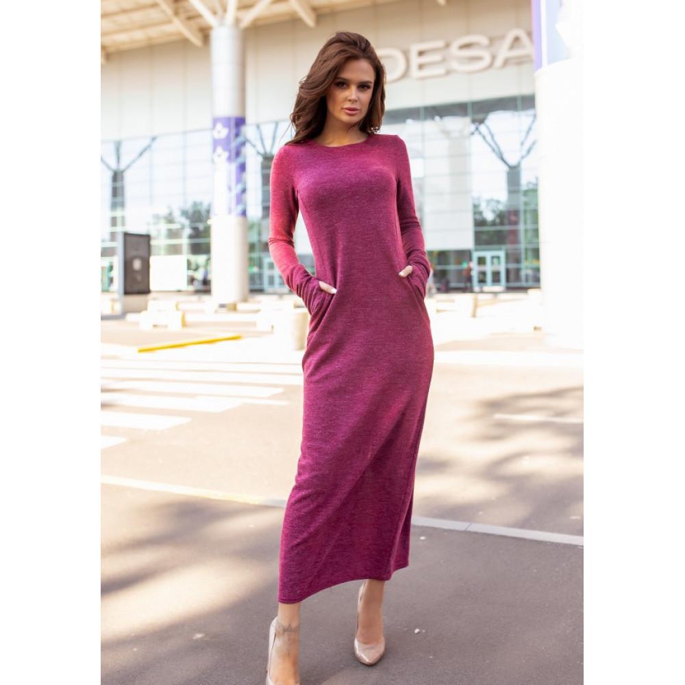 Бордовое платье макси с разрезом фото 1
