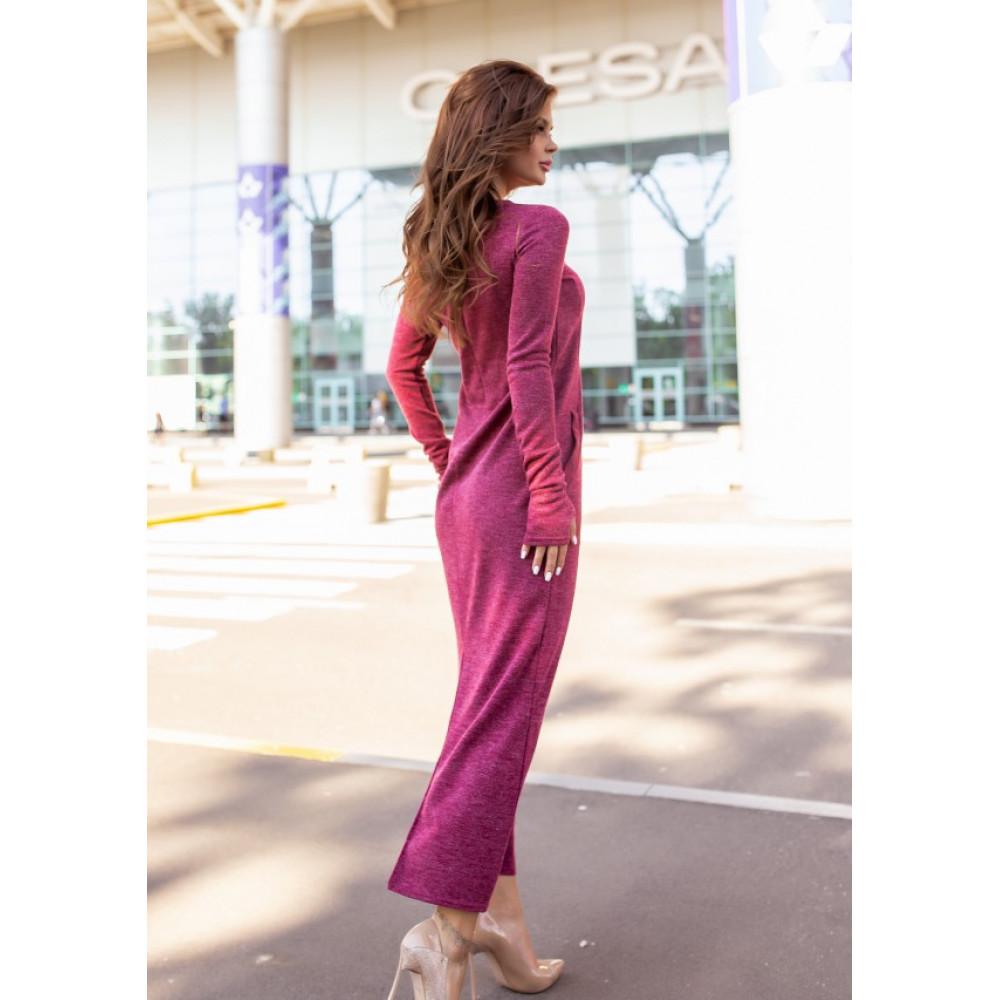 Бордовое платье макси с разрезом фото 4