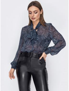Легка блуза в цікавий принт пейслі