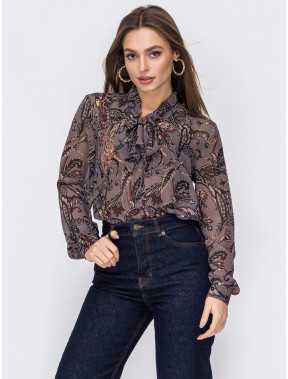 Шифонова блуза з цікавим принтом пейслі