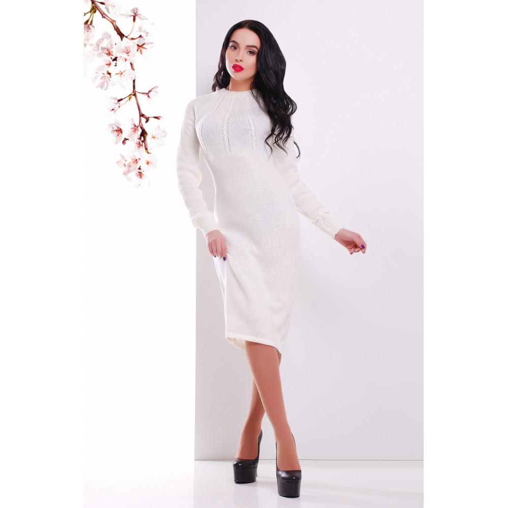 Вязаное платье молочного цвета фото 1